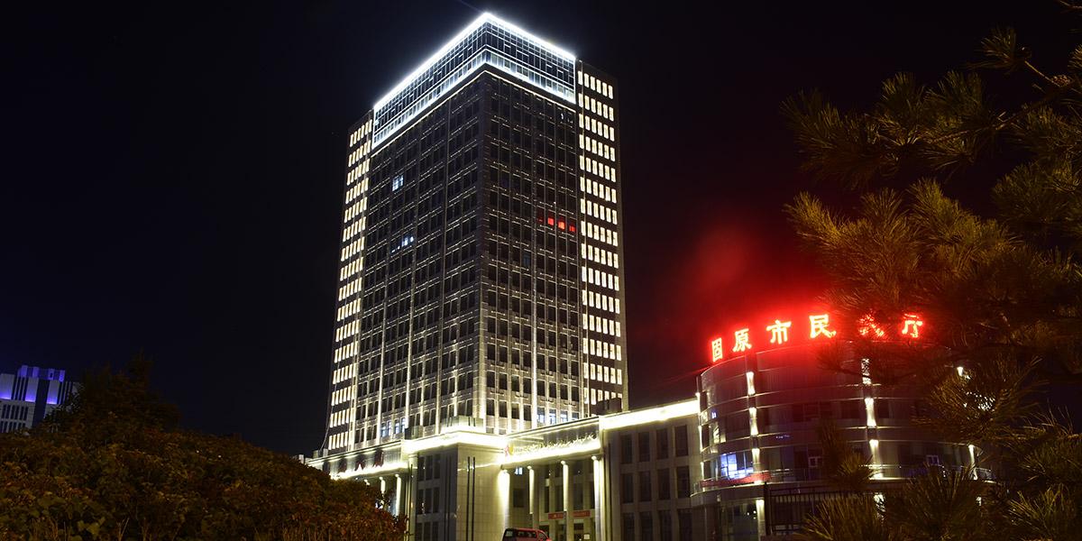 亮丽龙为宁夏固原民生楼提供LED灯亮化方案工程