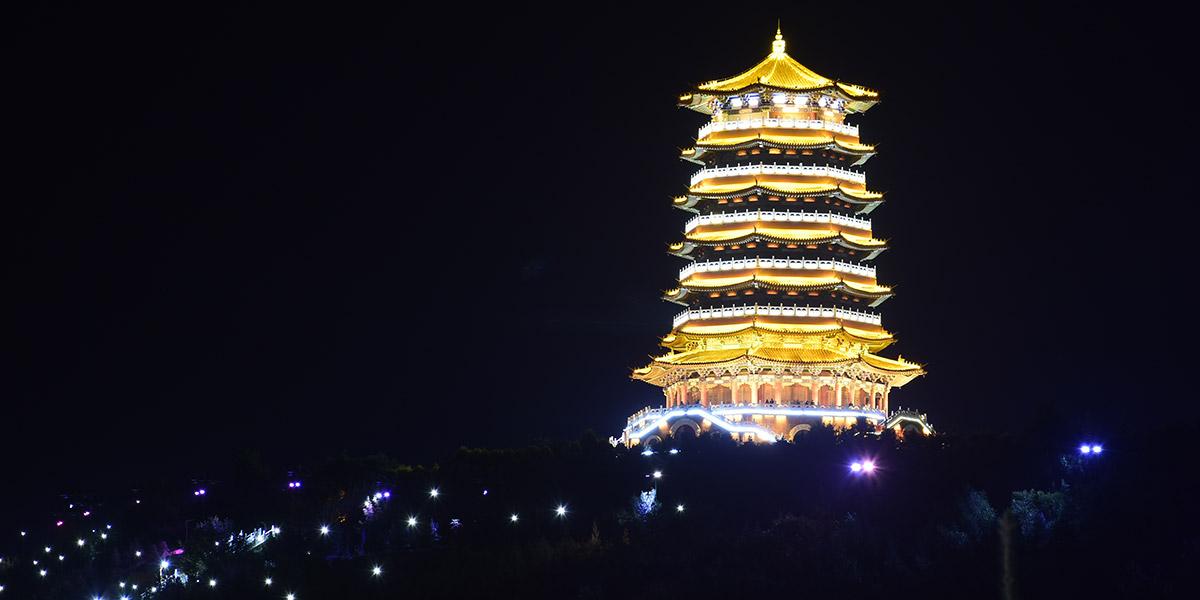 亮丽龙的宁夏固原古雁塔景观亮化工程