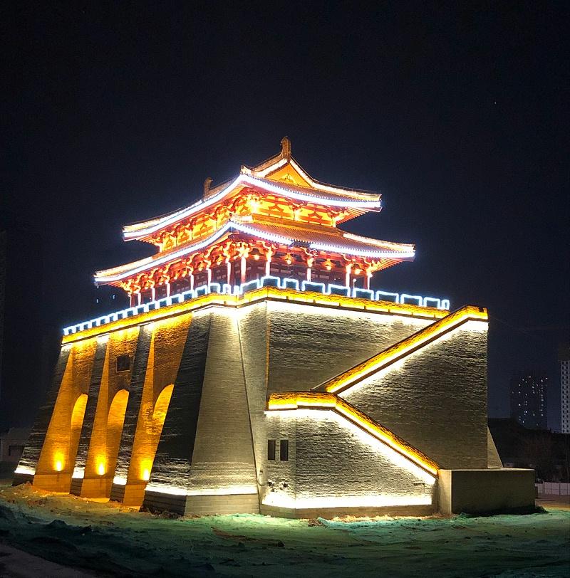 咸阳乾陵下乾县北门城楼古建筑亮化工程项目