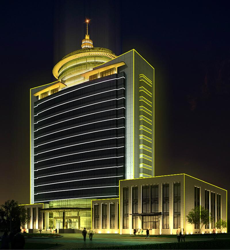 翼中东庞矿办公大楼外墙亮化工程