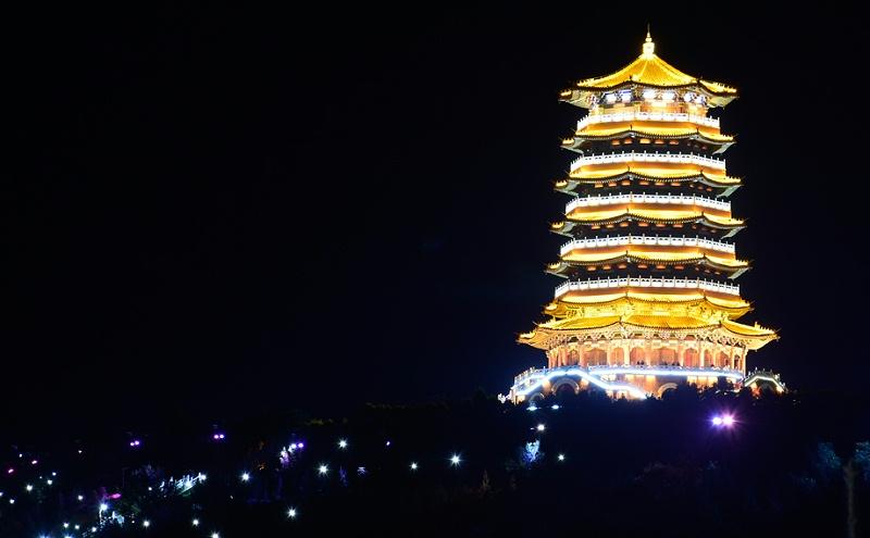 古建筑亮化-宁夏古雁塔