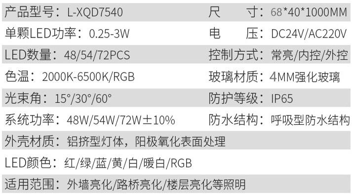 LED洗墙灯L-XQD7540参数