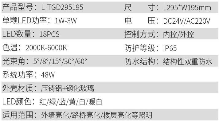LED投光灯L-TGD295195参数