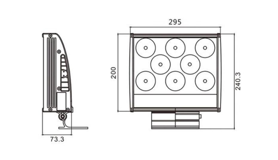 LED投光灯L-TGD295195产品结构图